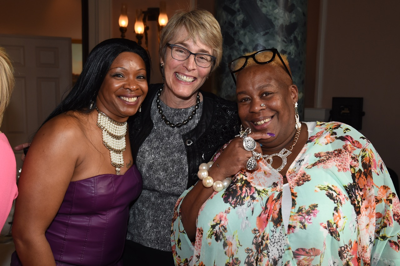 Kate with the Gogglebox stars Sandy and Sandra