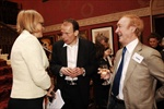 Andrew Marr (centre) chats to Kate Bulkley and David Wigg