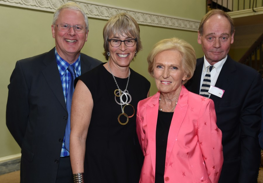 BPG Awards March 2016. Ross Biddescombe, Journalist and Writer, Kate, Mary Berry, Food writer and Television Presenter and  John Lloyd, comedy writer and producer of Black Adder and QI