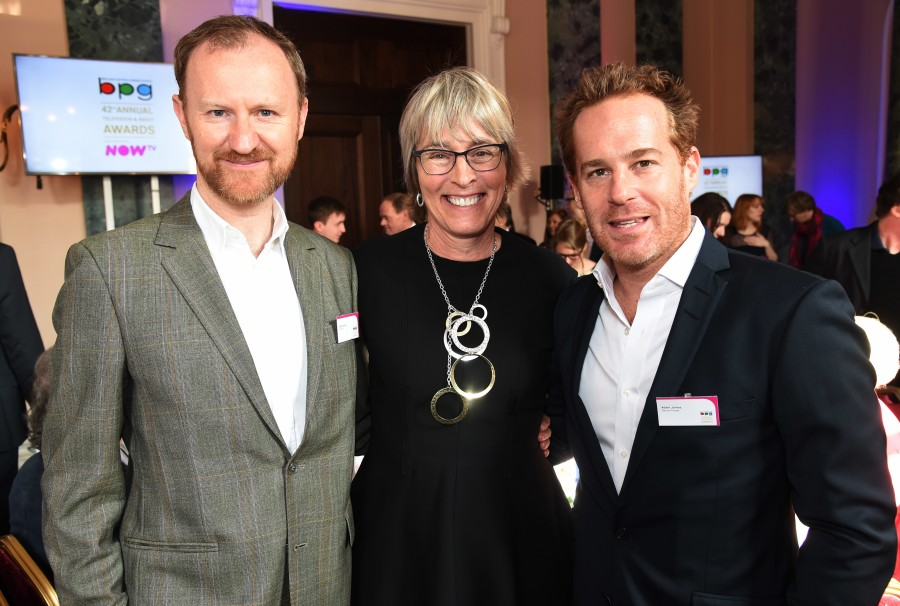 BPG Awards March 2016. Kate with actors Mark Gatiss (Sherlock, Wolf Hall) and Adam James (Doctor Foster)