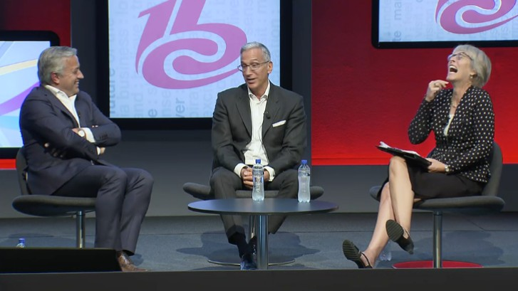 Dominique Delport, MD Havas Global and Chairman Vivendi Content and Manuel Cubero CCO Vodafone Germany with Kate at IBC 2016