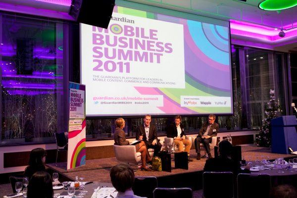 Kate runs a panel on M-Commerce with (right to left: Angus McCarey, head of retail eBay UK, Tom Johnson, head of platform strategy Betfair and Russell Buckley, CMO Eagle Eye Solutions at the Guardian Mobile Business Summit 2011