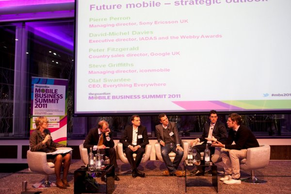 Kate runs a panel on future mobile strategies with (left to right) Olaf Swantee, CEO Everything Everywhere, Pierre Perron, MD Sony Ericsson UK, Steve Griffits. MD iconmobile, Peter Fitzgerald, country sales director Google UK, and David-Michel Davies, director Webby Awards at the Guardian Mobile Business Summit 2011