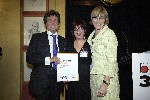 Left to right, Melvyn Bragg with the Harvey Lee Award, Marilyn Lee & Kate