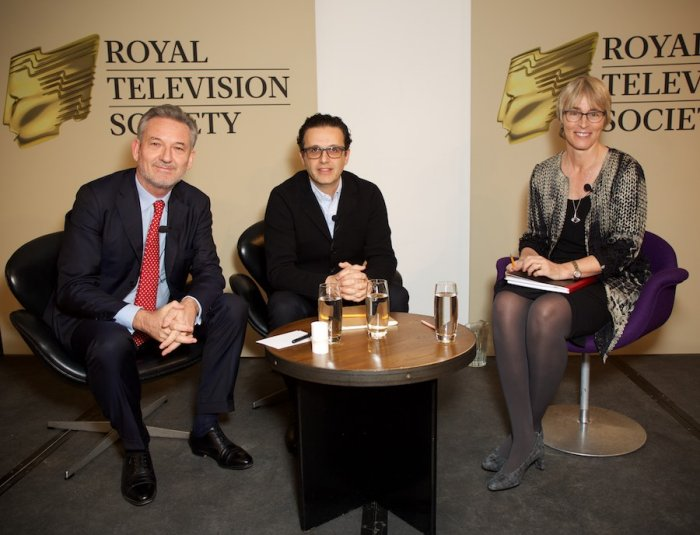 Kate moderated a session pitting Channel 4 CEO David Abraham  (in the middle) and Virgin Media CEO Tom Mockridge (far left) at the RTS event December 8 2014 at the Hospital Club.