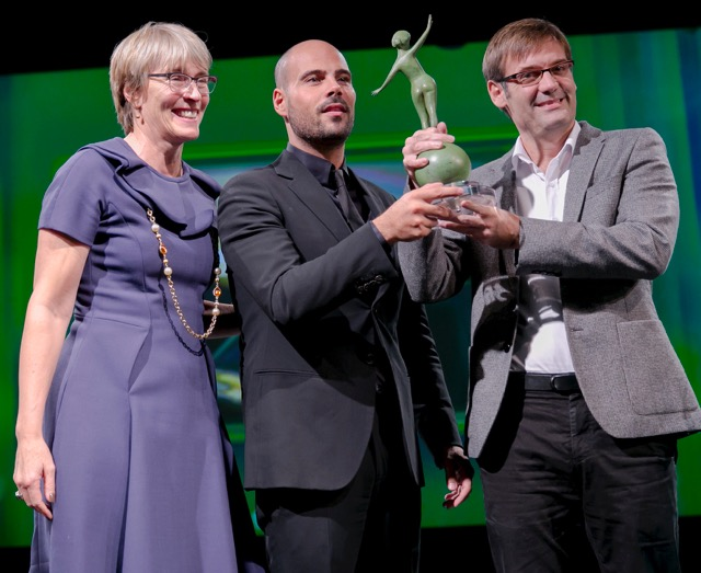 Kate presents the SKY Italia Award for Top Programme to Gomorrah star Marco D'Amore and Roberto Amoroso