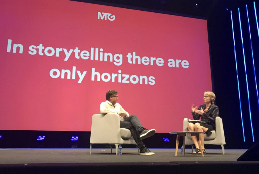 Kate interviews CEO of Modern Times Group (MTG) on stage in Cannes 